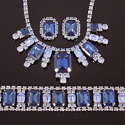 Vintage Blue Rhinestone Parure:  Necklace, Bracelet, Earrings, circa 1950s