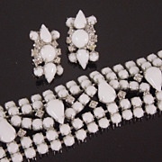 SALE Vintage Kramer White Glass & Rhinestone Bracelet and Earrings, circa 1950s