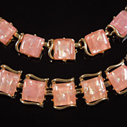 SALE Vintage Coro Pink Confetti Lucite Bracelet & Earrings Set, circa 1960s
