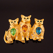 Bob Mackie Kitty Cat Rhinestone Brooch