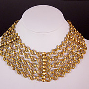 Massive Joseff of Hollywood Russian Gold Etruscan Bib Necklace