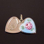 Sterling Blue Guilloche Rose Locket Heart Charm w St. Christopher & Mary