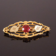 Edwardian Golden Filigree Leaf Pin with Ruby Paste Stone