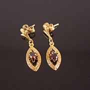 Estate 14K Gold Garnet Victorian Revival Earrings