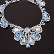 Vintage WEISS Aqua Ice Blue Rhinestone Necklace, circa 1950s