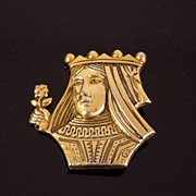 Vintage Coro Queen Suit of Playing Cards Golden Brooch, circa 1940s