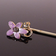Antique Enamel Violet & Pastes Stick Pin
