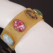 Vintage Sarah Coventry Glass Cabochon Golden Mesh Bracelet, circa 1970s