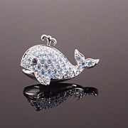 SWAROVSKI Brand Pave Crystal Rhinestone Whale Pin
