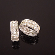 Vintage ORA Emerald Cut Pave Crystal Infinity Hoop Earrings, circa 1950s