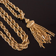Vintage Monet Thick Golden Tassel Necklace