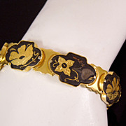 Vintage Golden Damascene Floral Bracelet