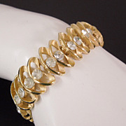 Vintage Trifari Crystal Rhinestone Loop Link Bracelet, circa 1960s