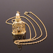 Vintage 3-D Gilded Birdcage Necklace with Moving Bird