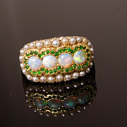 Antique Edwardian 14K Gold Fire Opal Russian Demantoid Seed Pearl Cluster Ring