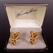 RAREST Early Kenneth Lane Russian Gold  Entwined Serpent Cufflinks with Box, circa 1960s