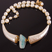 "Vintage Miriam Haskell Simulated Pearl ""Horn Necklace"" with Amazonite"