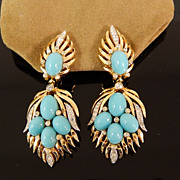 Vintage Trifari Jewels of India Mughal Flame Earrings, circa 1965