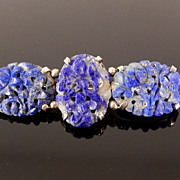 Old Chinese Sterling Carved Lapis Flower Brooch, circa 1920s