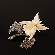 Estate Sterling Germany Hand Carved Bone Hibiscus Flower Marcasite Brooch