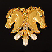 Vintage Elizabeth Taylor Hearts in Tandem Horse Brooch for Avon
