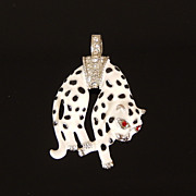 Vintage Enamel Crystal Hanging Panther Pendant in the style of Cartier