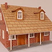 Vintage French Colonial House Folk Art Dollhouse, circa 1930s
