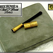 SALE PENDING HERMES : 18k Gold & Tortoise Shell Cigarette Holder, Lighter, Original Box