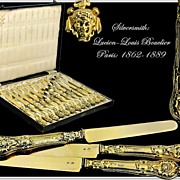 SOLD BOUCLIER : Antique French Vermeil Silver Knife Set Neo-Renaissance Style Mascarons