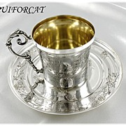 SOLD PUIFORCAT : Antique French Sterling & Vermeil Japanisme Cup & Saucer