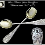 Pair: Antique Austrian Salt Spoon Set Mascarons Palmettos