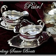 SOLD Flamant and Champenois: Two French Sterling Silver Sauce Boats Trays