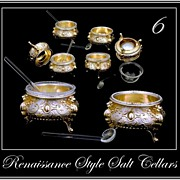 SOLD Antique Silver Vermeil Salt Cellar Set 6: Renaissance Style