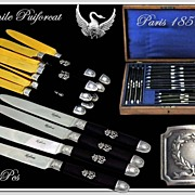 SOLD Emile PUIFORCAT: Antique French Empire Swan Knife Set Silver and Ebony: 24 pcs