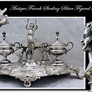 SALE PENDING RARE: Antique French Sterling Silver Double Inkwell Figural Mascarons