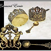 SOLD Edouard ERNIE: Pair Renaissance Antique Vermeil Sterling Silver Open Salt Cellars with Sp