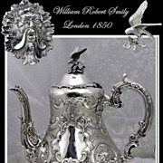 SOLD Smily: Antique Sterling Silver Coffee Pot Mascarons Circa 1850