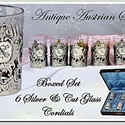 SOLD Antique Austrian Silver, Vermeil & Crystal Shot Set, Original Box