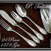 TALLOIS : Sublime Antique French Sterling Silver Dinner Flatware Set - 24 Pieces