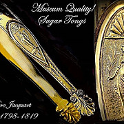 JACQUART : 1798 Museum Quality Antique French Empire Vermeil Sterling Sugar Tongs