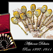 SOLD Debain: Boxed Set 12 Antique French Silver Vermeil Spoons a la Russe