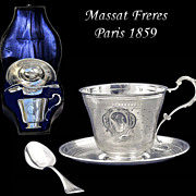 SALE PENDING Massat Freres: Rare! BOXED Antique French Sterling Silver Cup, Saucer & Spoon Set