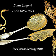 LOUIS COIGNET: Antique French Sterling Vermeil Ice Cream Serving Pair Box