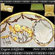 SCHIFFERLET: Sterling vermeil Dessert Set w Amazing Dish and Original Box!