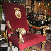 19th Century French Baroque Style Gilt High Back Armchair