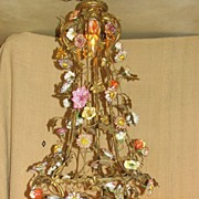 French Gilt Bronze & Dresden Porcelain Floral Chandelier