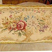 19th Century Large French Aubusson Bolster Pillow
