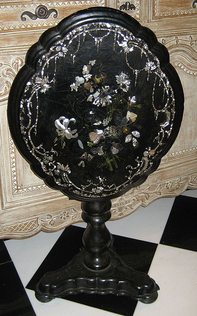 19th Century Papier Mache Tilt-Top Table