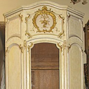 19th Century French Louis XV Style Painted Parcel Gilt Armoire