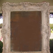 Antique French Louis XV Style Terra Cotta Painted Mirror